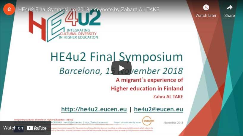 Keynote by Zahara AL TAKE at the HE4u2 final event